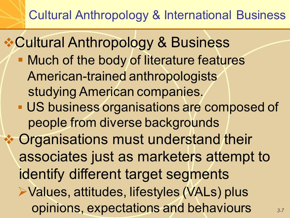 3-7 Cultural Anthropology & International Business  Cultural Anthropology & Business  Much of the body of literature features American-trained anthropologists studying American companies.