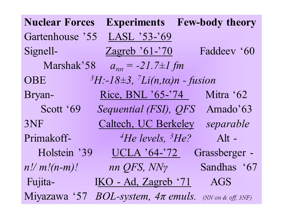 Nuclear Forces Experiments Few-body theory Gartenhouse '55 LASL '53-'69 Signell- Zagreb '61-'70 Faddeev '60 Marshak'58 a nn = -21.7±1 fm OBE 3 H:-18±3, 7 Li(n,tα)n - fusion Bryan- Rice, BNL '65-'74 Mitra '62 Scott '69 Sequential (FSI), QFS Amado'63 3NF Caltech, UC Berkeley separable Primakoff- 4 He levels, 3 He.