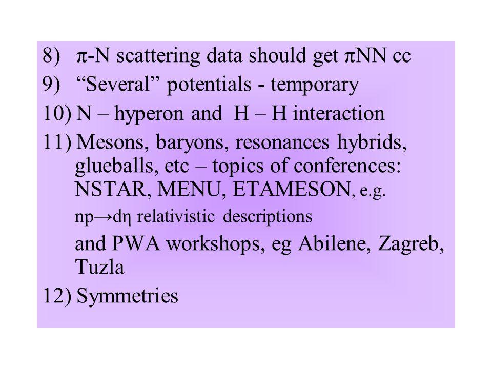 8) π-N scattering data should get πNN cc 9) Several potentials - temporary 10) N – hyperon and H – H interaction 11) Mesons, baryons, resonances hybrids, glueballs, etc – topics of conferences: NSTAR, MENU, ETAMESON, e.g.