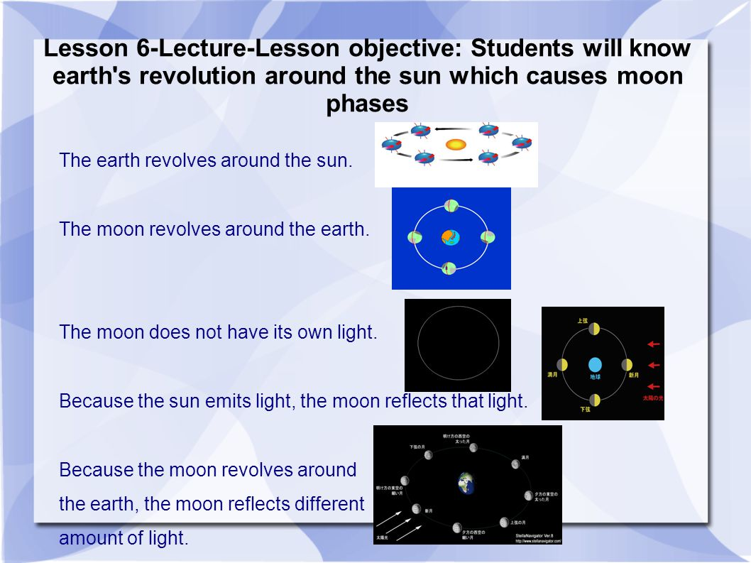 Lesson 6-Lecture-Lesson objective: Students will know earth s revolution around the sun which causes moon phases The earth revolves around the sun.