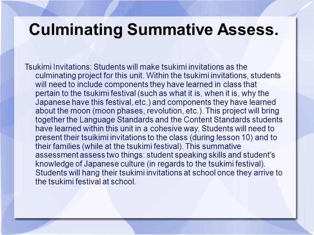 Culminating Summative Assess.