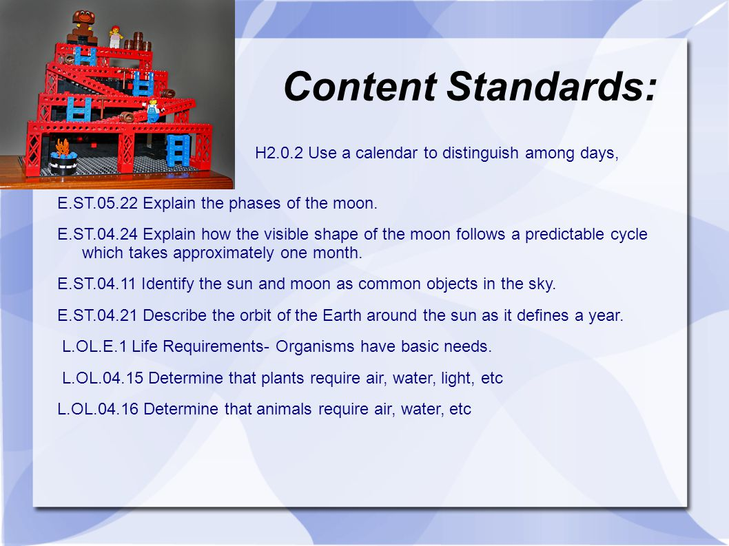 Content Standards: H2.0.2 Use a calendar to distinguish among days, weeks, and months.