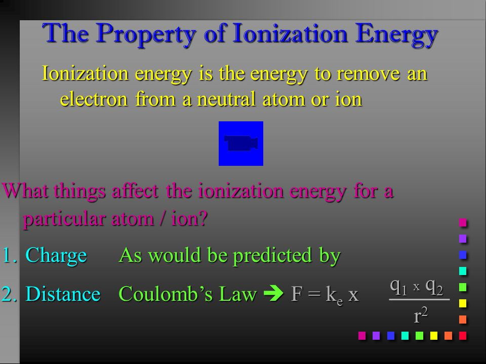 The Property of Ionization Energy Ionization energy is the energy to remove an electron from a neutral atom or ion What things affect the ionization energy for a particular atom / ion.