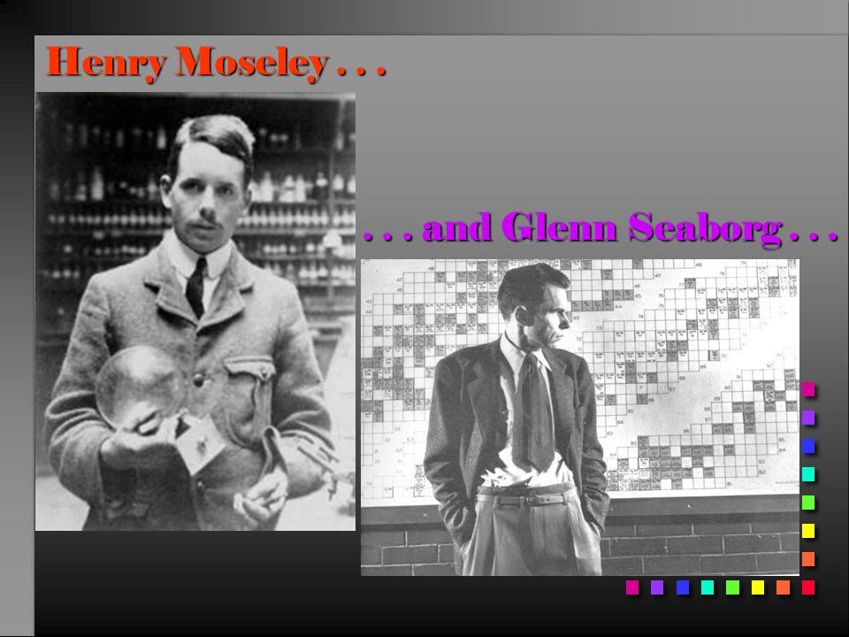 Henry Moseley...... and Glenn Seaborg...