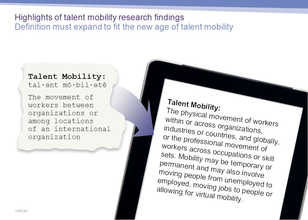 MERCER 10 April 29, 2015 Highlights of talent mobility research findings Definition must expand to fit the new age of talent mobility Talent Mobility: