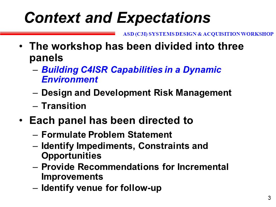 ASD (C3I) SYSTEMS DESIGN & ACQUISITION WORKSHOP 24 Acquiring Systems-of-Systems -- Strawman Major Issues (2 of 3) Confederations of Allied/Coalition Systems-of-Systems –What steps can be taken to ensure that US and allied/coalition acquisitions are Interoperable.
