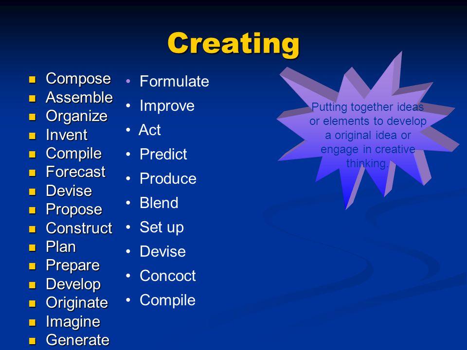 Creating Compose Compose Assemble Assemble Organize Organize Invent Invent Compile Compile Forecast Forecast Devise Devise Propose Propose Construct C