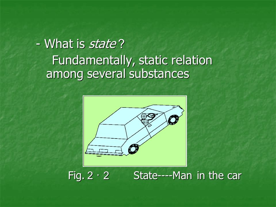 - What is state ? Fundamentally, static relation among several substances Fundamentally, static relation among several substances Fig.