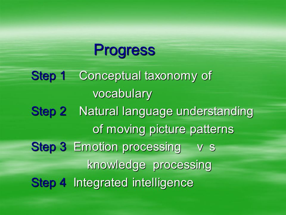Progress Progress Step 1 Conceptual taxonomy of vocabulary vocabulary Step 2 Natural language understanding of moving picture patterns of moving picture patterns Step 3 Emotion processing vs knowledge processing knowledge processing Step 4 Integrated intelligence