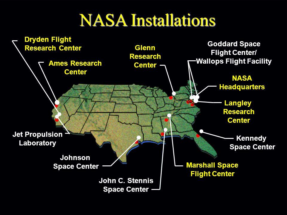 NASA Installations Ames Research Center Glenn Research Center Goddard Space Flight Center/ Wallops Flight Facility Jet Propulsion Laboratory Johnson Space Center John C.