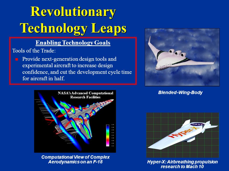 Revolutionary Technology Leaps Enabling Technology Goals Tools of the Trade: Provide next-generation design tools and experimental aircraft to increase design confidence, and cut the development cycle time for aircraft in half.