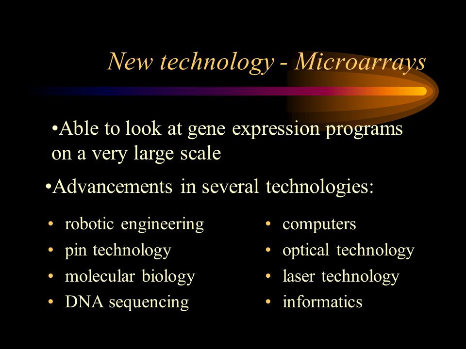 New technology - Microarrays robotic engineering pin technology molecular biology DNA sequencing computers optical technology laser technology informa