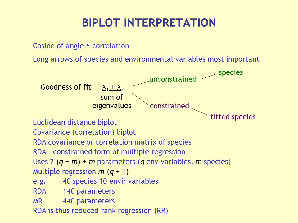 Cosine of angle  correlation Long arrows of species and environmental variables most important Euclidean distance biplot Covariance (correlation) bip