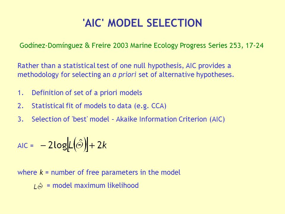 'AIC' MODEL SELECTION Godínez-Domínguez & Freire 2003 Marine Ecology Progress Series 253, 17-24 1.Definition of set of a priori models 2.Statistical f
