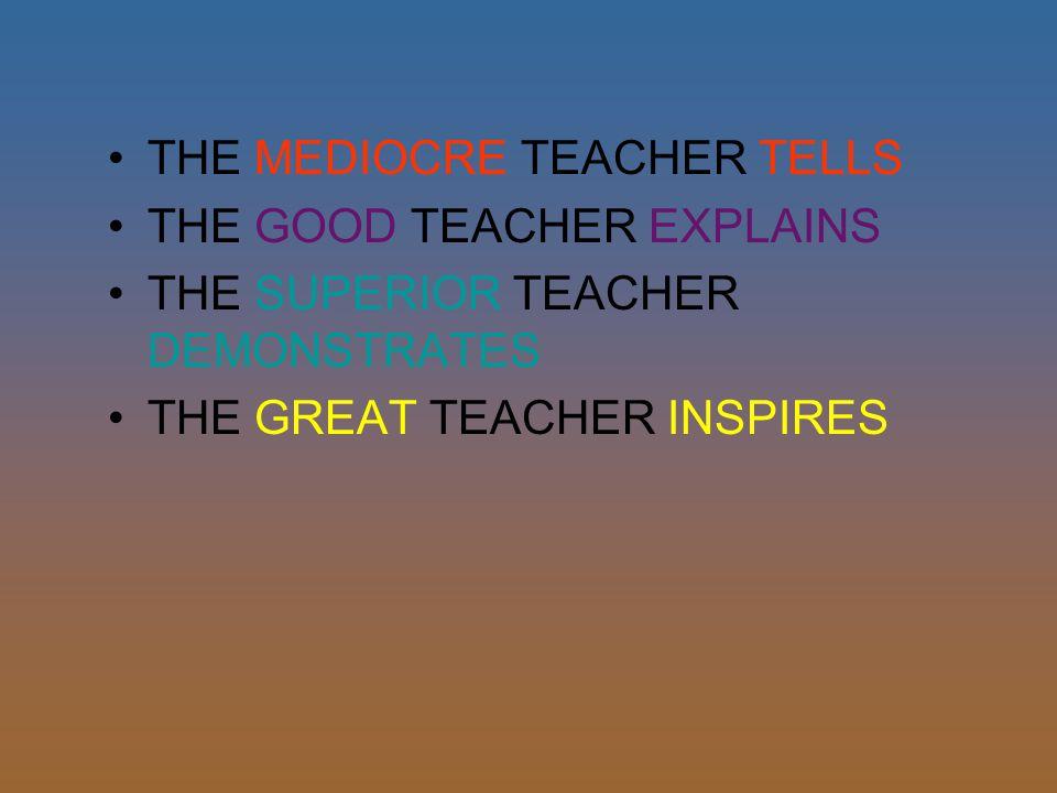 THE MEDIOCRE TEACHER TELLS THE GOOD TEACHER EXPLAINS THE SUPERIOR TEACHER DEMONSTRATES THE GREAT TEACHER INSPIRES