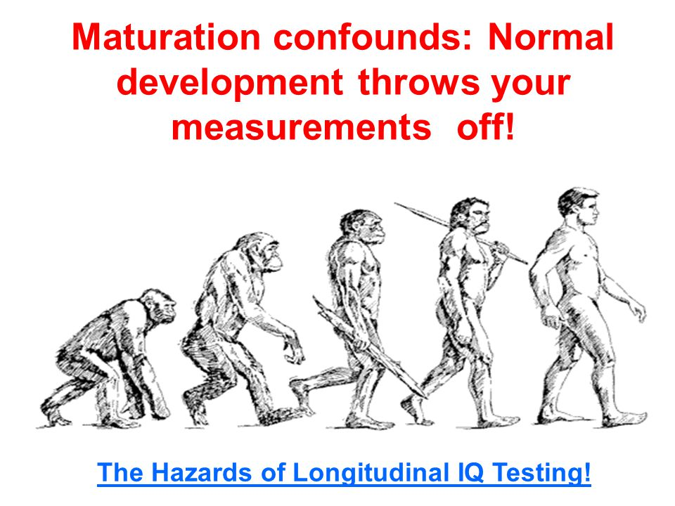 Maturation confounds: Normal development throws your measurements off.