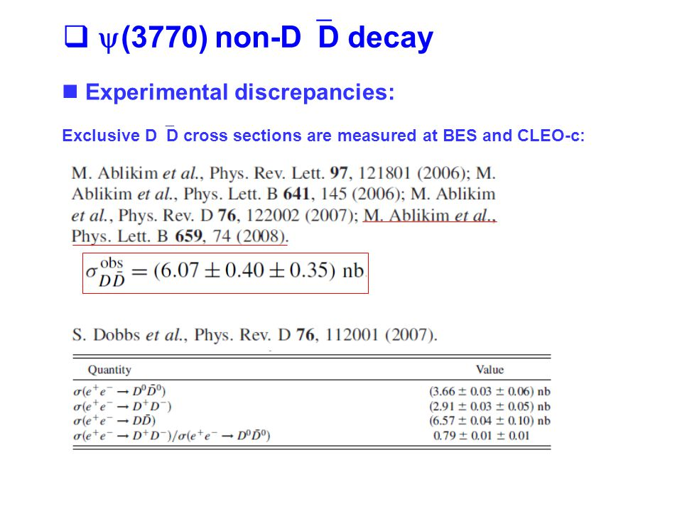   (3770) non-D  D decay Experimental discrepancies: Exclusive D  D cross sections are measured at BES and CLEO-c: