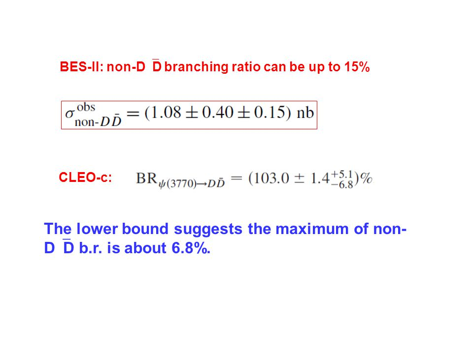CLEO-c: BES-II: non-D  D branching ratio can be up to 15% The lower bound suggests the maximum of non- D  D b.r.