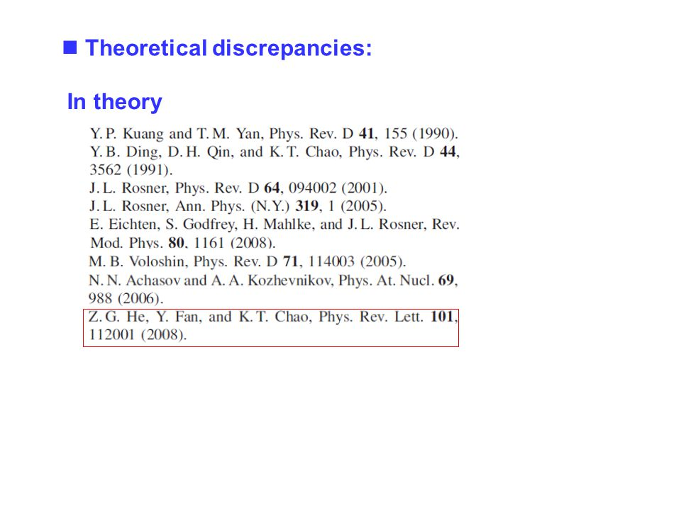 In theory Theoretical discrepancies: