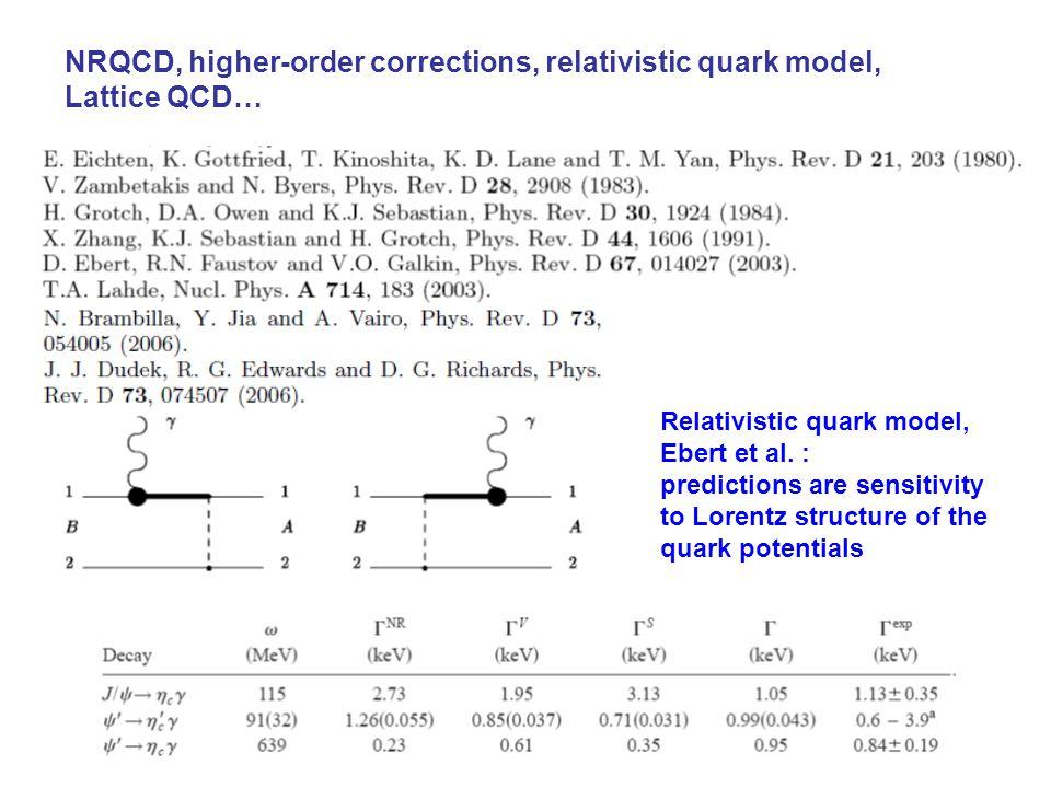 NRQCD, higher-order corrections, relativistic quark model, Lattice QCD… Relativistic quark model, Ebert et al.