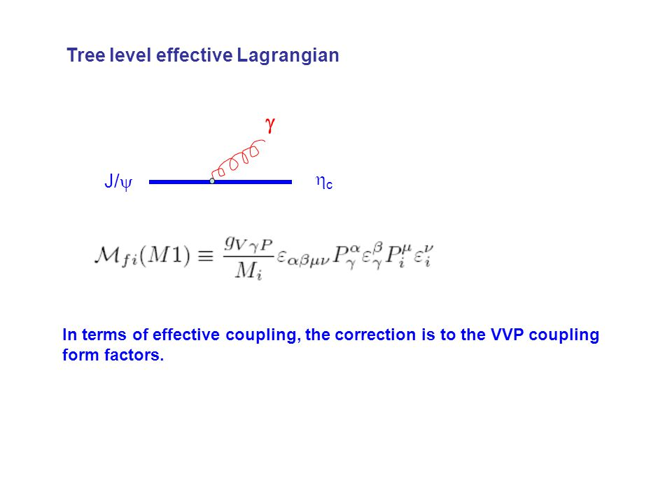 J/  cc  Tree level effective Lagrangian In terms of effective coupling, the correction is to the VVP coupling form factors.