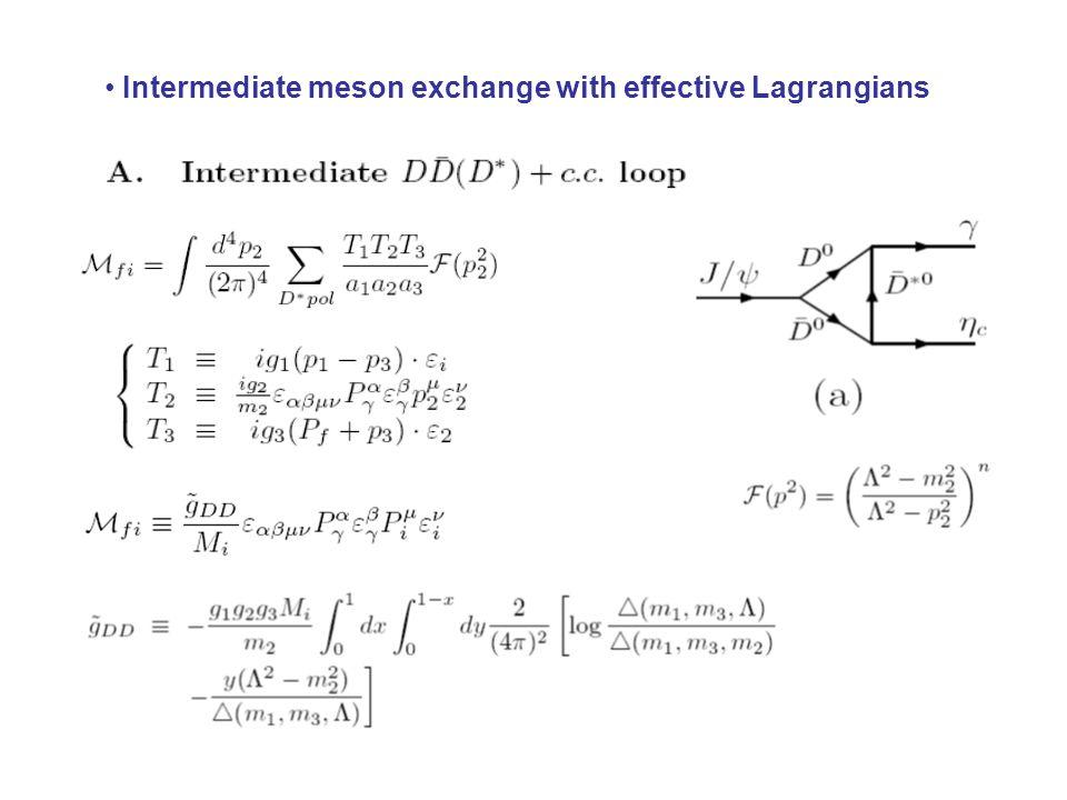 Intermediate meson exchange with effective Lagrangians