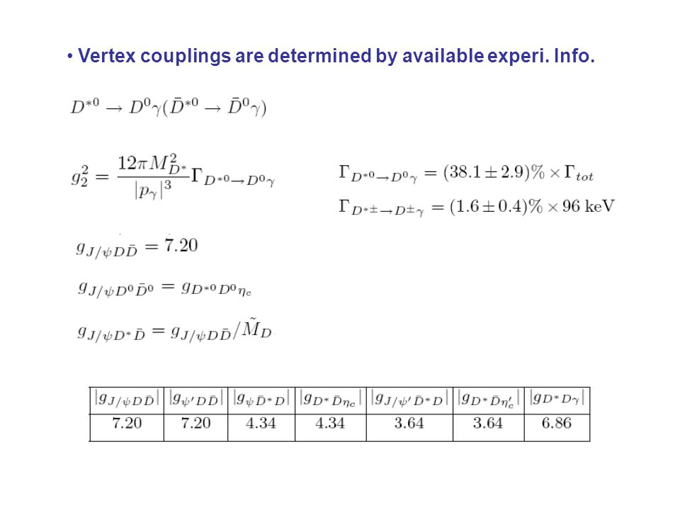 Vertex couplings are determined by available experi. Info.