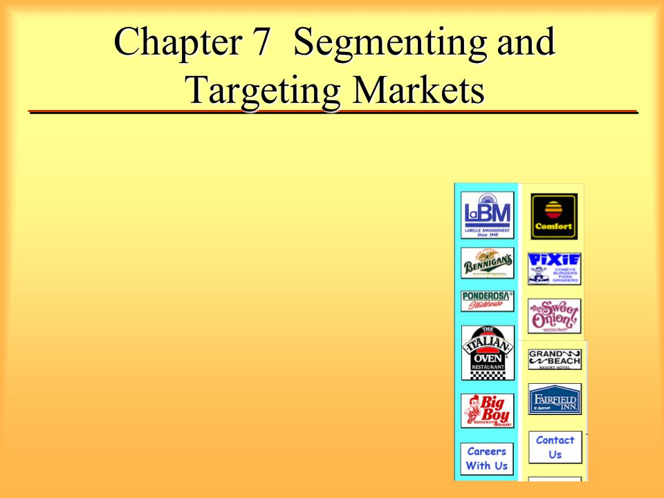 Chapter 7 Segmenting and Targeting Markets