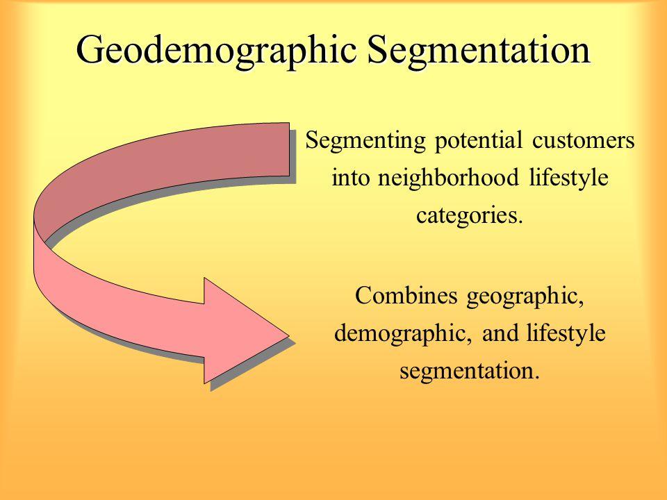Geodemographic Segmentation Segmenting potential customers into neighborhood lifestyle categories. Combines geographic, demographic, and lifestyle seg