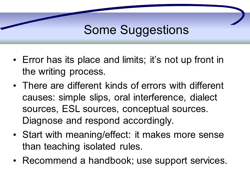 Some Suggestions Error has its place and limits; it's not up front in the writing process.