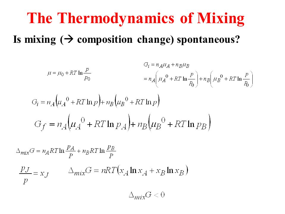 The Thermodynamics of Mixing Is mixing (  composition change) spontaneous?