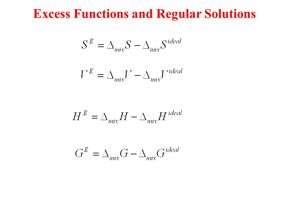 Excess Functions and Regular Solutions