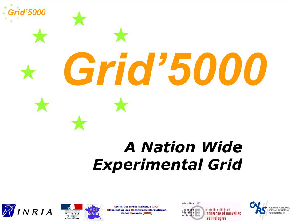 Grid'5000 Grid raises a lot of research issues: Security, Performance, Fault tolerance, Load Balancing, Fairness, Coordination, Message passing, Data storage, Programming, Communication protocols and architecture, Deployment, etc.