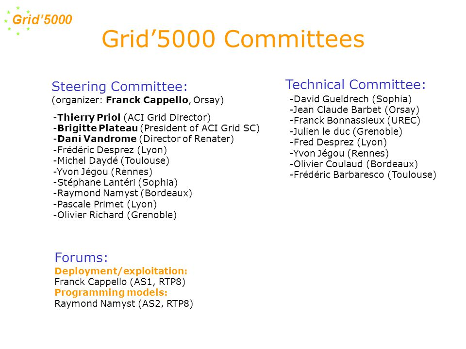 Grid'5000 Grid'5000 control -Environment computing deployment (Ka-tools) Grid Computing - Multi-clusters and lightweights Grid ressource managment (OAR/CIGRI) - Grid file system (NFSG) - Scheduling : Data transferts, global communications, hierarchical workstealing,...