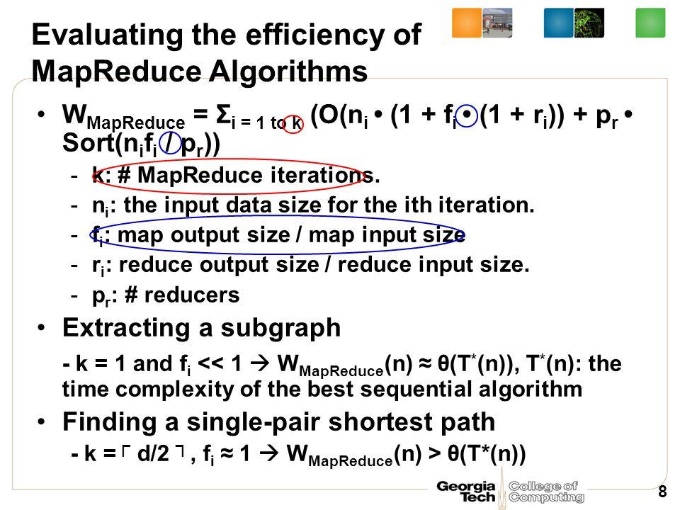 Evaluating the efficiency of MapReduce Algorithms W MapReduce = Σ i = 1 to k (O(n i (1 + f i (1 + r i )) + p r Sort(n i f i / p r )) -k: # MapReduce i