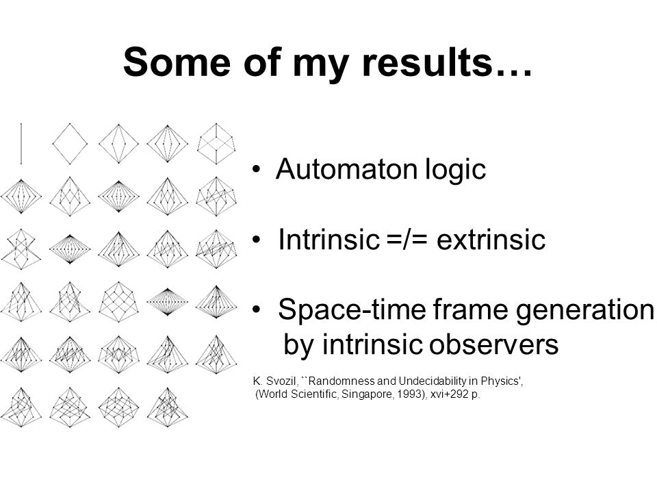 Some of my results… Automaton logic Intrinsic =/= extrinsic Space-time frame generation by intrinsic observers K.
