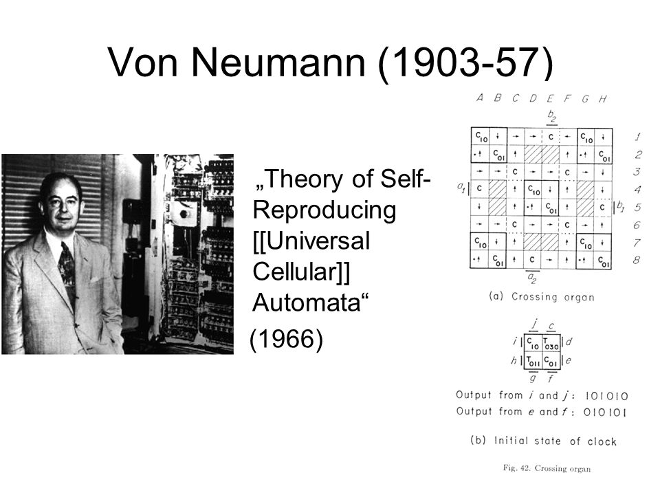 "Von Neumann (1903-57) ""Theory of Self- Reproducing [[Universal Cellular]] Automata (1966)"