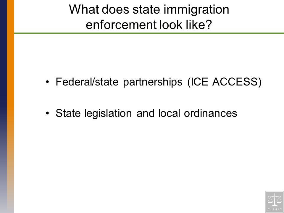 Federal/state partnerships (ICE ACCESS) State legislation and local ordinances What does state immigration enforcement look like