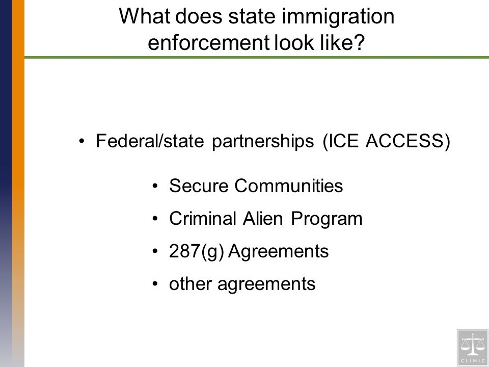 Federal/state partnerships (ICE ACCESS) What does state immigration enforcement look like.