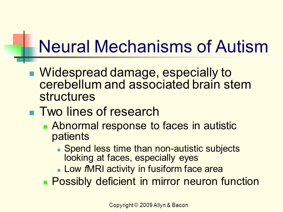 Copyright © 2009 Allyn & Bacon Neural Mechanisms of Autism Widespread damage, especially to cerebellum and associated brain stem structures Two lines of research Abnormal response to faces in autistic patients Spend less time than non-autistic subjects looking at faces, especially eyes Low fMRI activity in fusiform face area Possibly deficient in mirror neuron function