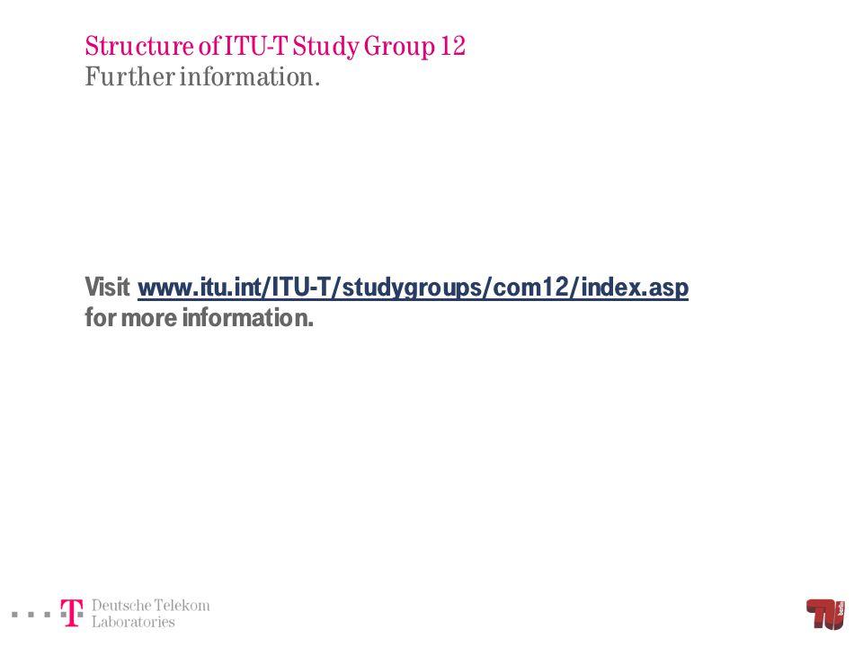 Visit www.itu.int/ITU-T/studygroups/com12/index.asp for more information.www.itu.int/ITU-T/studygroups/com12/index.asp Structure of ITU-T Study Group
