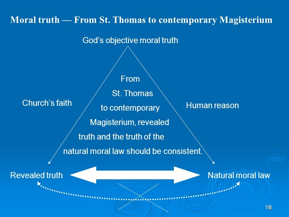 16 Moral truth — From St. Thomas to contemporary Magisterium God's objective moral truth Church's faith Revealed truth Human reason Natural moral law