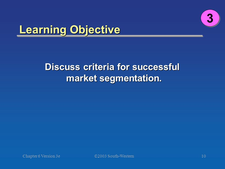 ©2003 South-Western Chapter 6 Version 3e10 Learning Objective Discuss criteria for successful market segmentation.