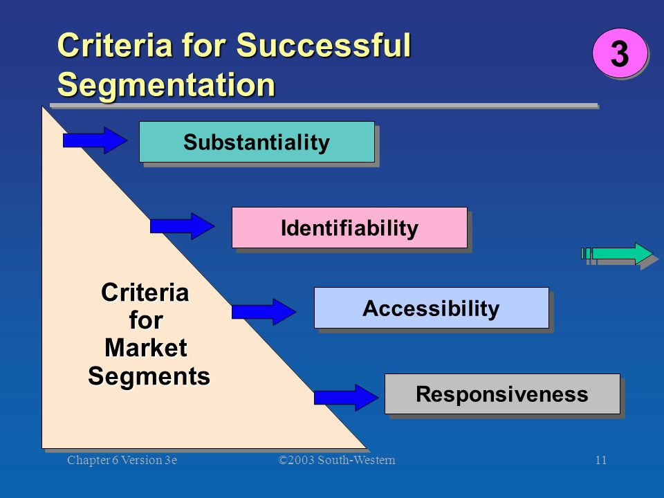 ©2003 South-Western Chapter 6 Version 3e11 Criteria for Successful Segmentation Criteria for Market Segments Substantiality Identifiability Accessibility Responsiveness 3 3