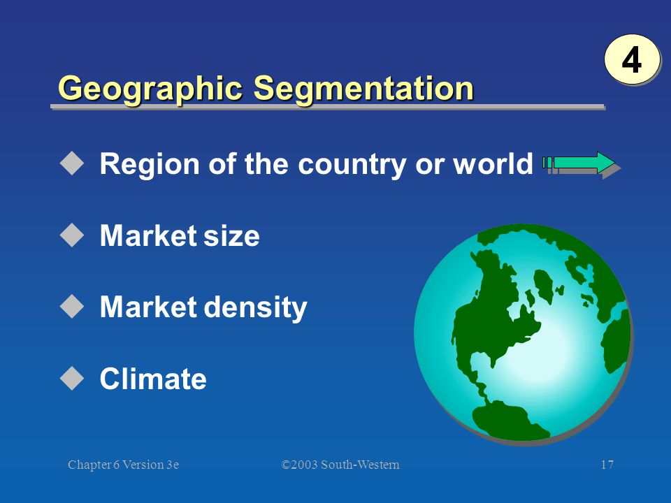 ©2003 South-Western Chapter 6 Version 3e17 Geographic Segmentation  Region of the country or world  Market size  Market density  Climate 4 4