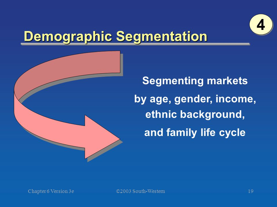 ©2003 South-Western Chapter 6 Version 3e19 Demographic Segmentation Segmenting markets by age, gender, income, ethnic background, and family life cycle 4 4