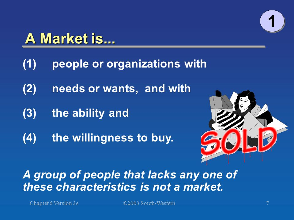 ©2003 South-Western Chapter 6 Version 3e7 A Market is...