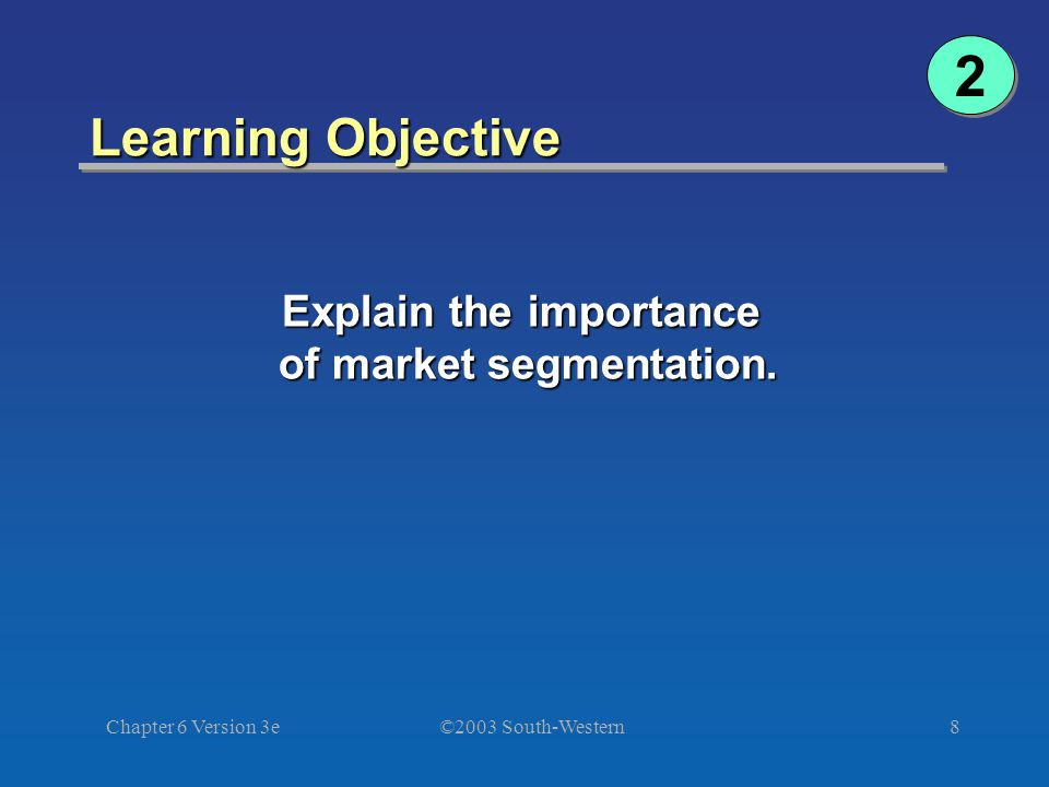 ©2003 South-Western Chapter 6 Version 3e8 Learning Objective 2 2 Explain the importance of market segmentation.