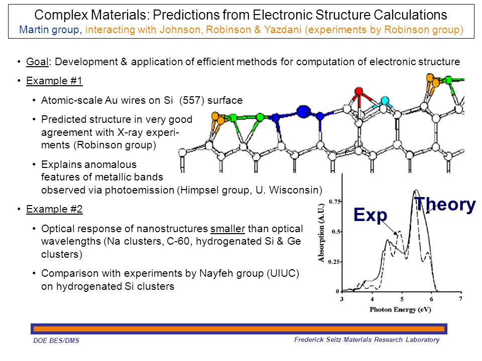 DOE BES/DMS Frederick Seitz Materials Research Laboratory Exp Theory Goal: Development & application of efficient methods for computation of electronic structure Example #1 Atomic-scale Au wires on Si (557) surface Predicted structure in very good agreement with X-ray experi- ments (Robinson group) Explains anomalous features of metallic bands observed via photoemission (Himpsel group, U.