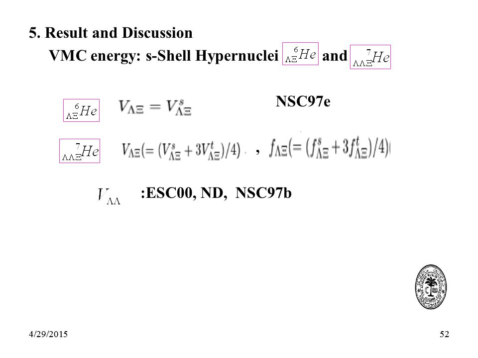 524/29/201552 5. Result and Discussion VMC energy: s-Shell Hypernuclei and NSC97e, :ESC00, ND, NSC97b 4/29/2015